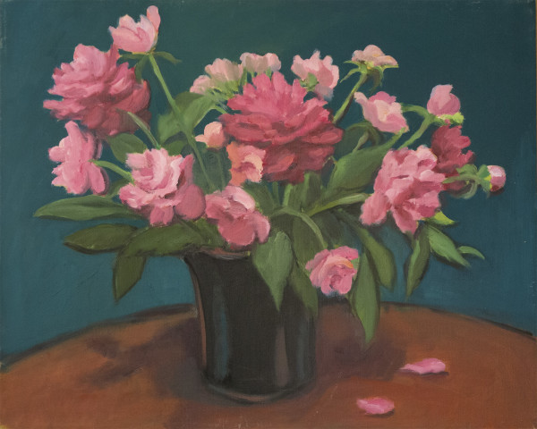 Untitled #309 (Pink Flowers with Turquoise Background) by Pat Ralph