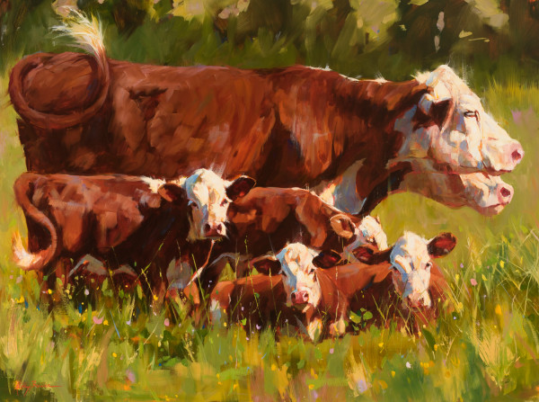 Herefords in a Landscape by Kelly Brewer