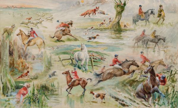 Fox Hunting Vignette by John Beer