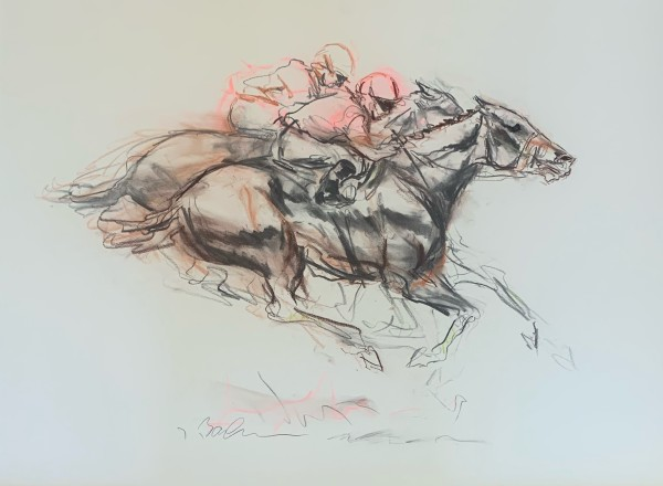 Dueling (Brown and Pink) by Jeaneen Barnhart