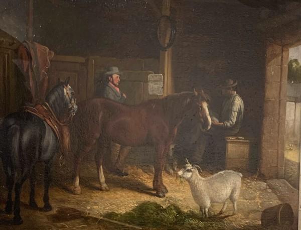 Stable Scene by 19th Century British