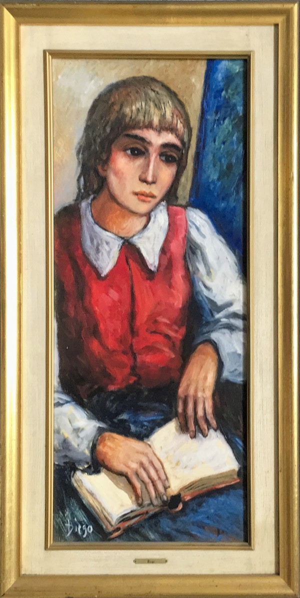 """""""Blind Reading Girl"""" by DIEGO #C100 in Gold-Leaf Painted Frame by Helga Voci by Antonio Diego Voci"""