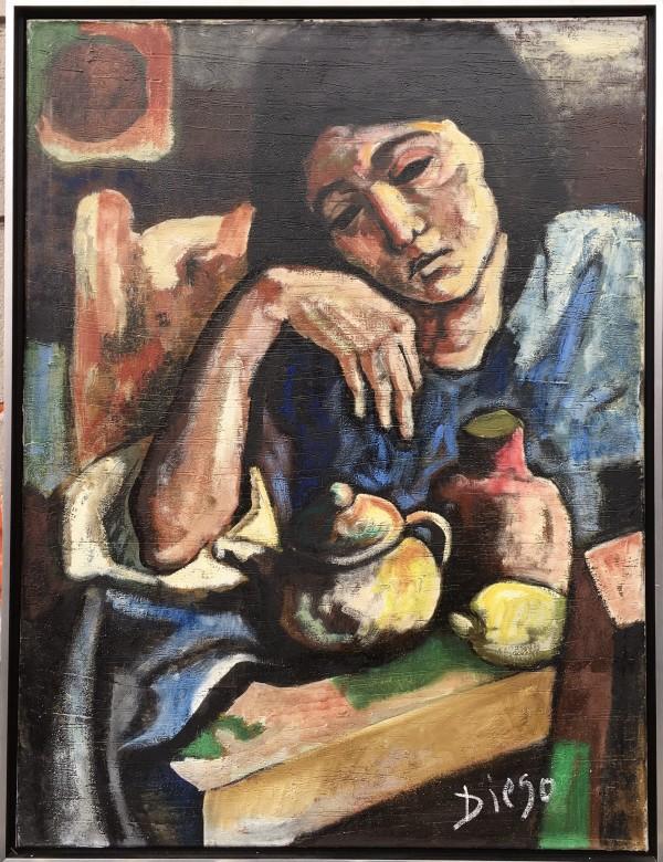 """Woman Drinking Tea"" by Antonio Diego Voci #C11 by Antonio Diego Voci"