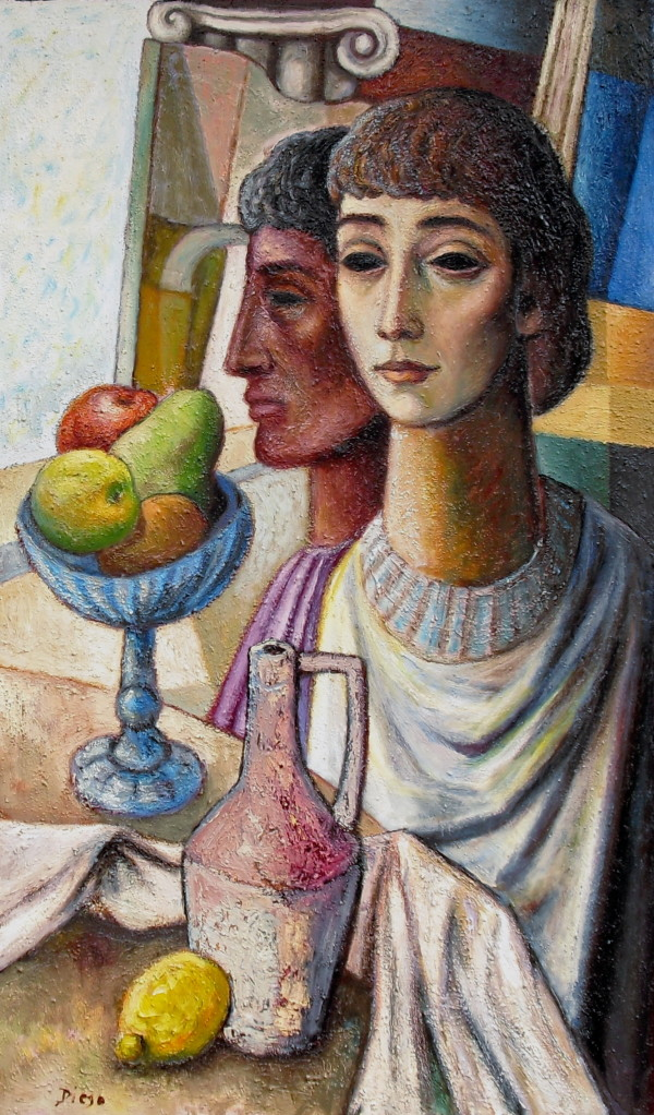 """Young Men with Still Life"" (Benedictine paint over) by Antonio Diego Voci #C48 by Antonio Diego Voci"