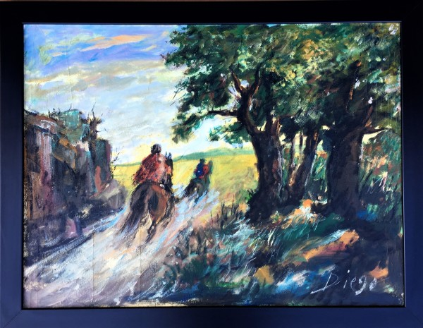 """Two Riders Galloping"" #C56 by Antonio Diego Voci by Antonio Diego Voci"
