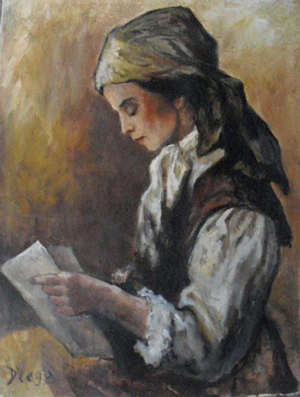 """Girl Reading"" by Antonio Diego Voci #C57 by Antonio Diego Voci"