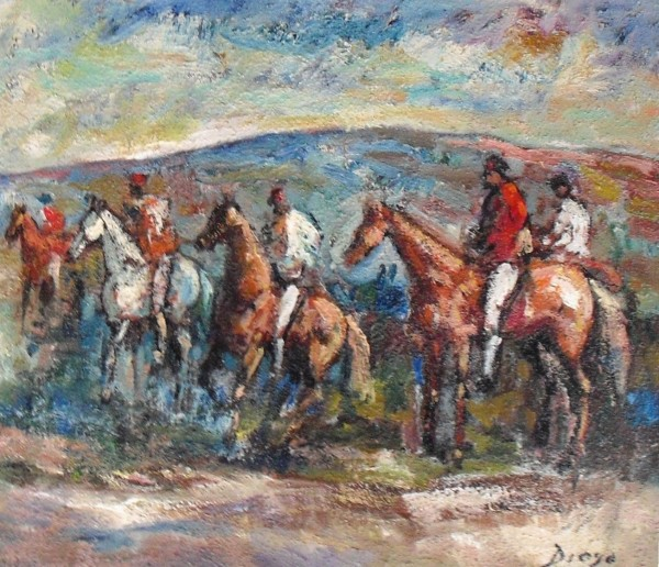 """Horses and Riders on a Hunt"" by Antonio Diego Voci #C59 by Antonio Diego Voci"