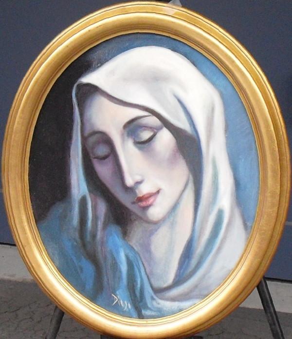 """""""Madonna"""" in Blue Oval Antonio Diego Voci #C67 by Antonio Diego Voci"""