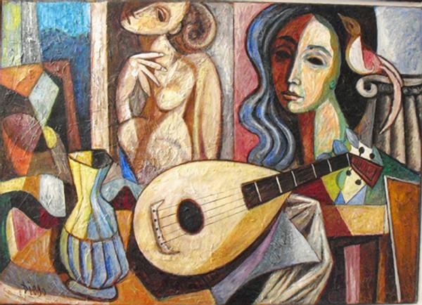 """Still Life with Mandolin"" by Antonio Diego Voci #C69 by Antonio Diego Voci"