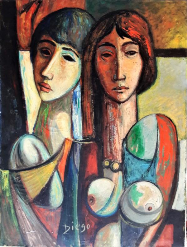"""Two Girls Due Ragazze"" by Antonio Diego Voci #C76 by Antonio Diego Voci"