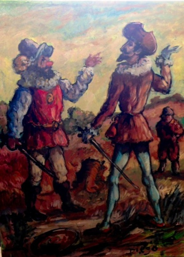 """Don Quixote and Carrasco"" by Antonio Diego Voci #C78 by Antonio Diego Voci"