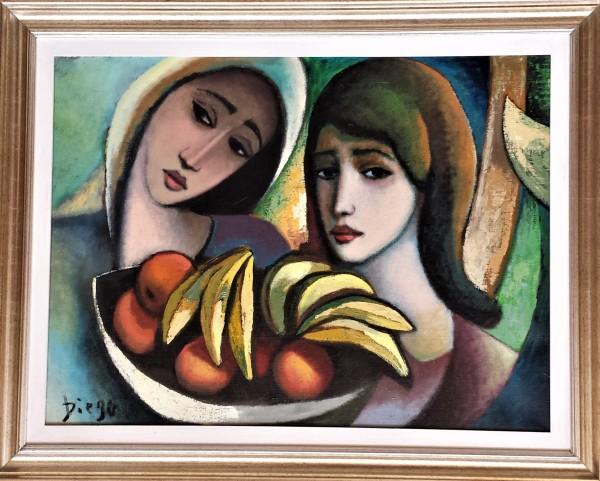 """Women with Bananas"" #C97 in Gold-Leaf Frame by Antonio Diego Voci"