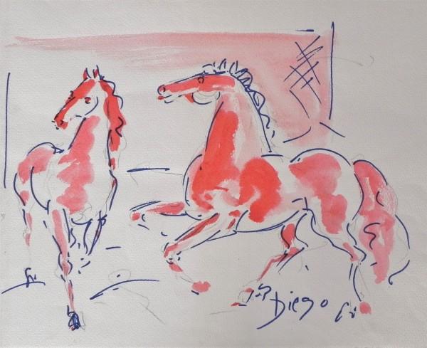 """Horses Courting"" by Antonio Diego Voci  #CD14 by Antonio Diego Voci"