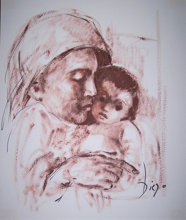 """""""Mother with Child on Right"""" CD21 by Antonio Diego Voci"""