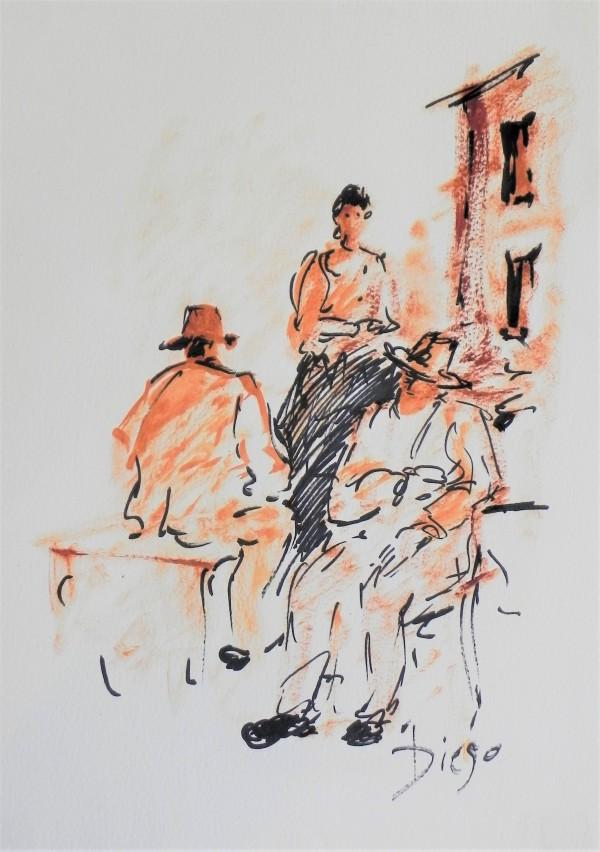 """Two Men Sitting Woman Standing"" CD31 by Antonio Diego Voci"