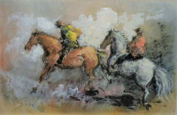"""""""Running Horses"""" Framed by Antonio Diego Voci by Antonio Diego Voci"""
