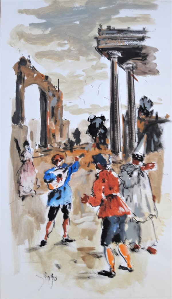 """""""Carnival with Columns and Mandolin Player""""CD35 by Antonio Diego Voci"""