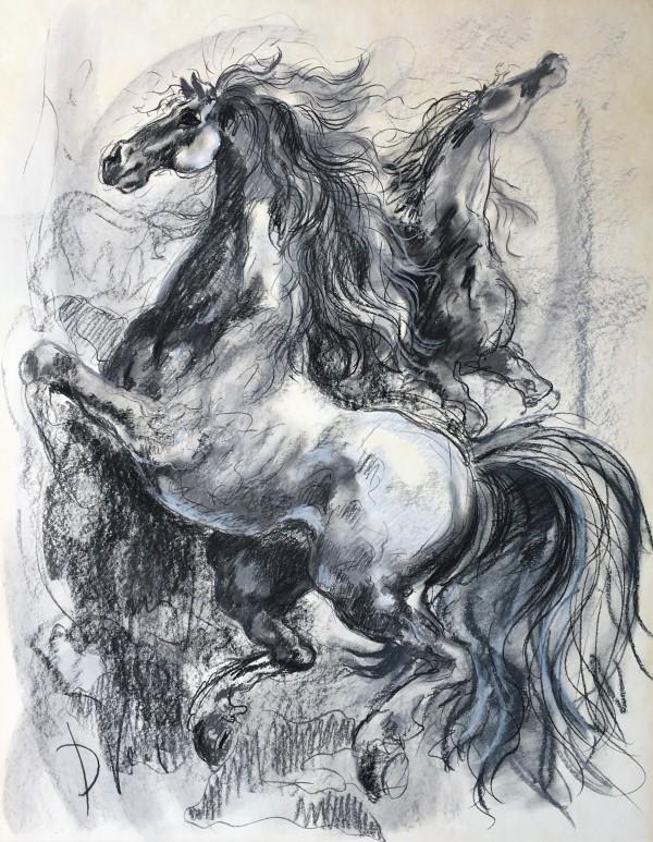 """Two Stallions"" (After Michelangelo/Raphael)  CD50 (Framed) by Antonio Diego Voci"