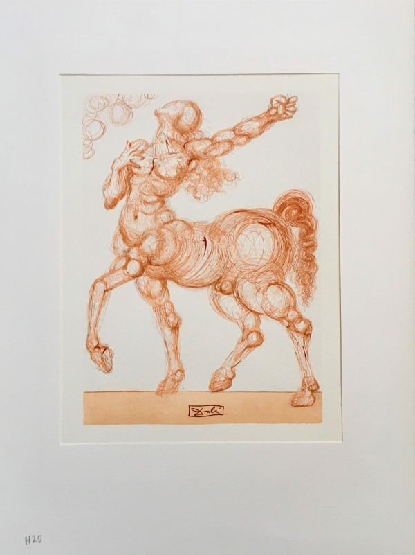 """Der Kentaur Cacus"" (German) ""The Centaur""  Göttliche Komödie Hölle H25 by Salvador Dali #D19 by Salvador Dali"