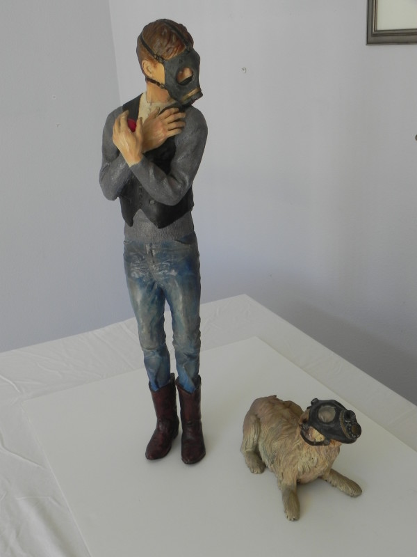 """Artist with Dog wearing Gas mask"" by Leslie Ford by Leslie Ford"