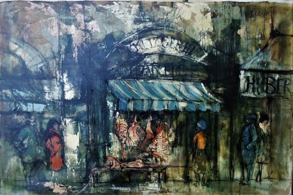 """Une Boucherie Typique a Munich"" by Didier Grandt by Didier Grandt"