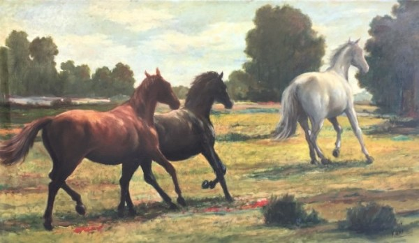 """Horses in Pasture"" Signed ""VOCI""  by Antonio Diego Voci #C13 by Antonio Diego Voci"