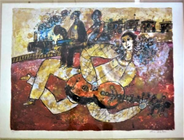 Untitled Lithograph (Women playing Mandolin) Theo Tobiasse by Theo Tobiasse