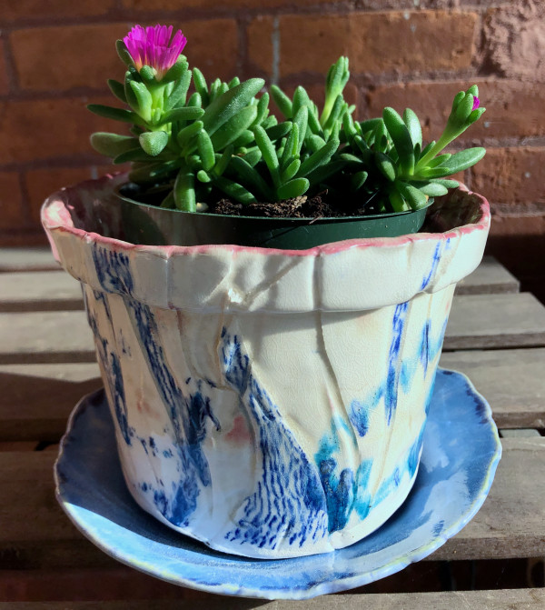 Plant companion with blue lines by Eve K. Tremblay