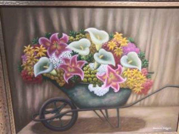 FLOWERS IN  WHEELBAROW by AMERLIN  DELINOIS