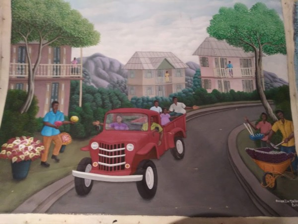 DRIVING RED TRUCK  (UNFRAMED) by AMERLIN  DELINOIS