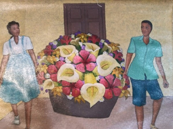 CARRYING LARGE FLOWERS  (UNFRAMED) by AMERLIN  DELINOIS
