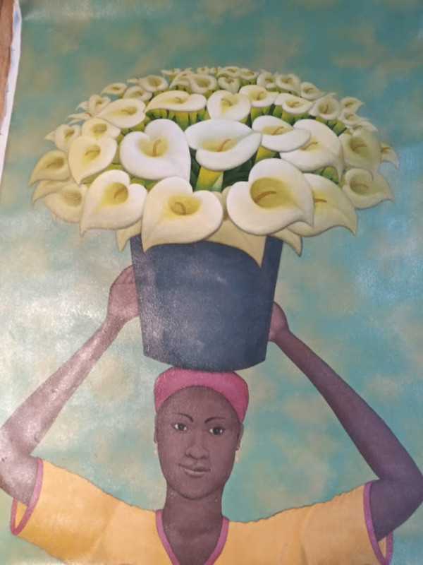 LADY CARRYING FLOWERS  (UNFRAMED) by AMERLIN  DELINOIS