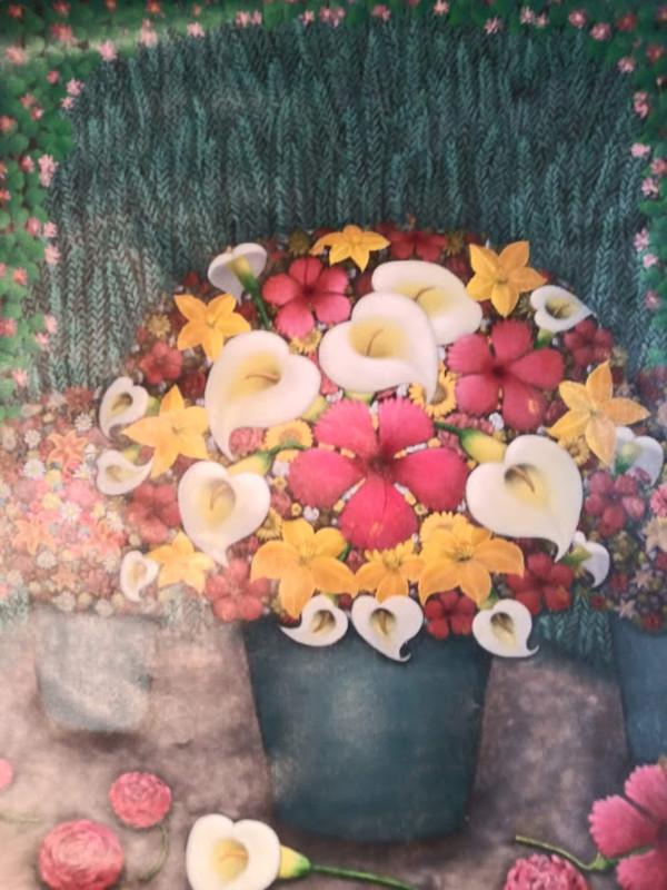 FLOWERS IN VASE (UNFRAMED) by AMERLIN  DELINOIS