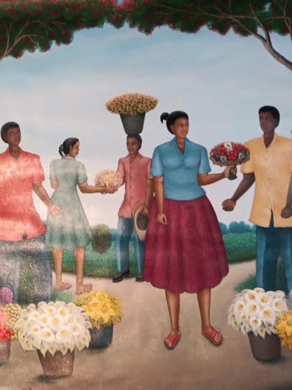 FLOWER PEOPLE  (UNFRAMED) by AMERLIN  DELINOIS