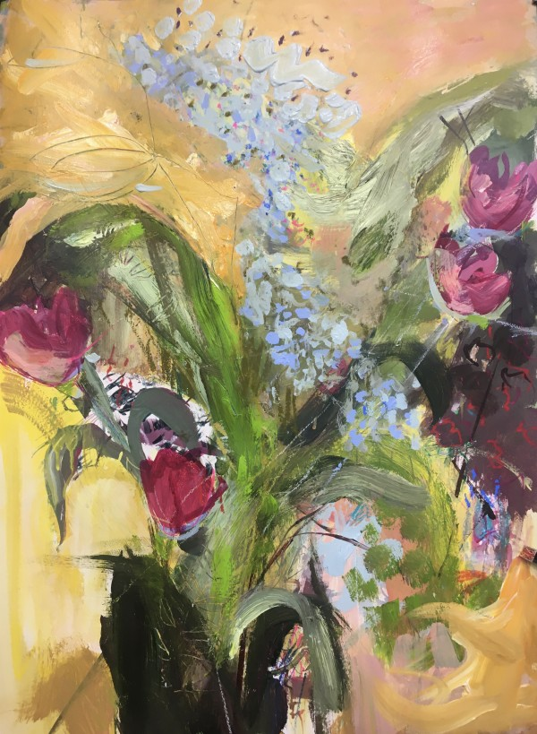 Bouquet Blue and Pink by Lesley Birch