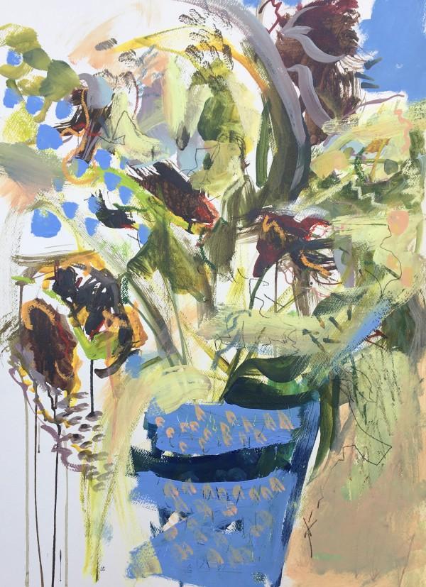 Fading Flowers, Blue Pot by Lesley Birch