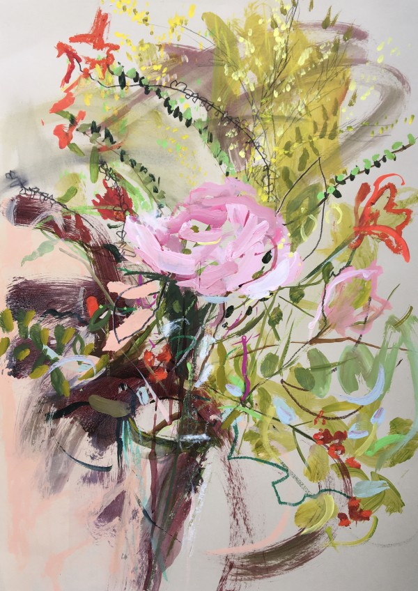 Summer Bouquet with a Pink Rose by Lesley Birch