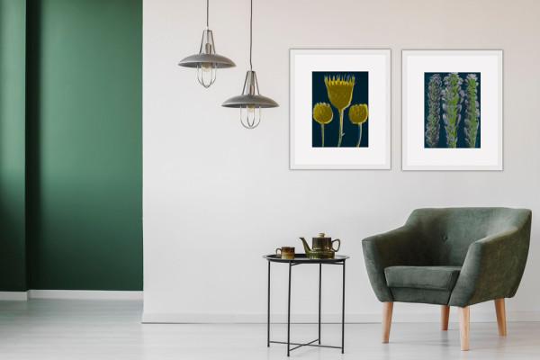 Plantstudie 1  50x37cm framed print 1 of 5 by caroline fraser