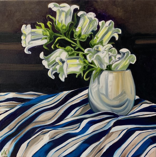 White Bell Flowers and Studio Stripes by Alicia Cornwell