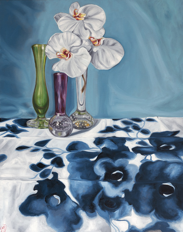 1950's Art Glass and Blue Swapcard Orchids by Alicia Cornwell