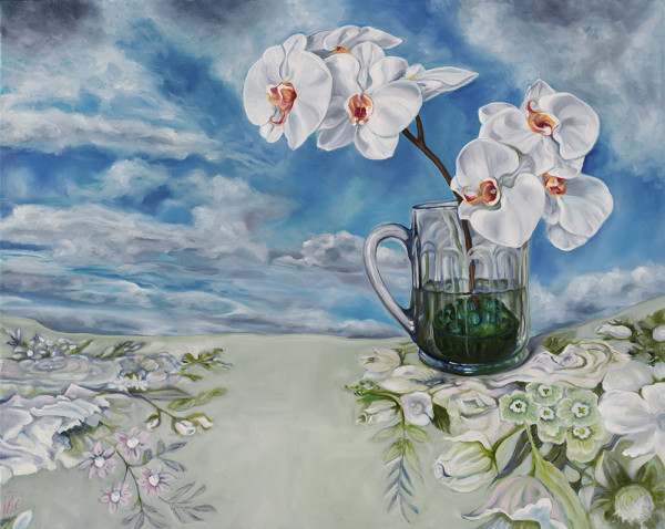 Swapcard Orchid Clouds on Sanderson by Alicia Cornwell