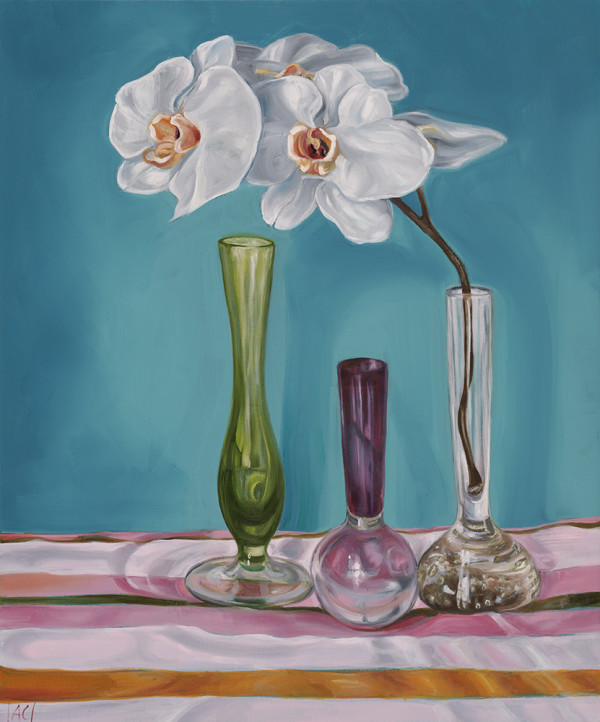 1950's Art Glass and Orchid Stripes by Alicia Cornwell