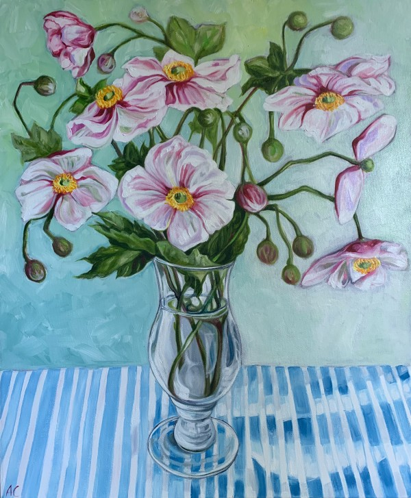 Autumn Anenome (Japanese Windflower) and Stripes by Alicia Cornwell