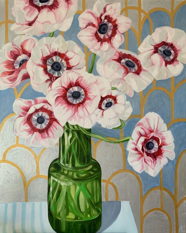 Silver Anenomes and the Green Vase by Alicia Cornwell