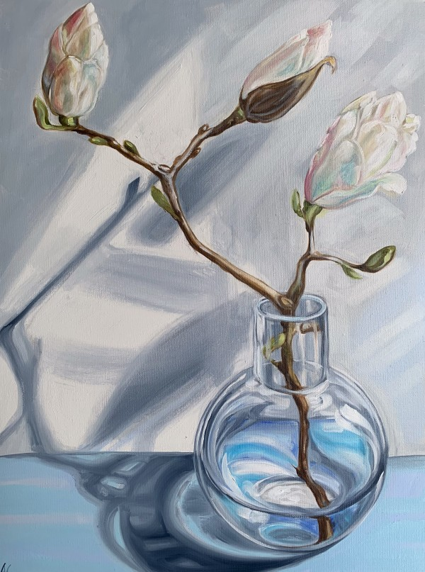 White Scented Magnolia and the Round Vase by Alicia Cornwell