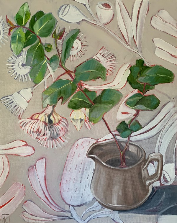 Japanese Stoneware and White Gum Blossom by Alicia Cornwell