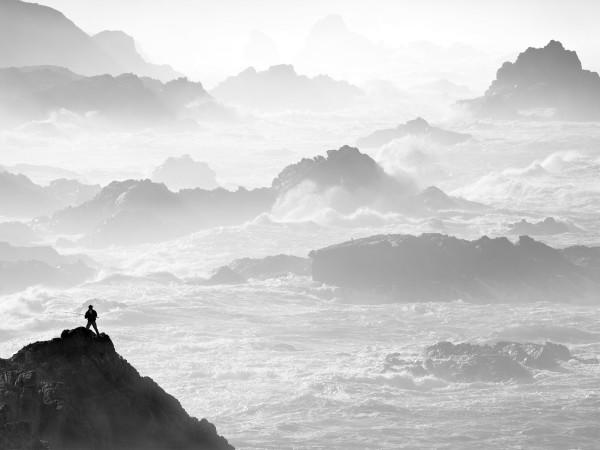 Fisherman, Winter Surf by G Dan Mitchell