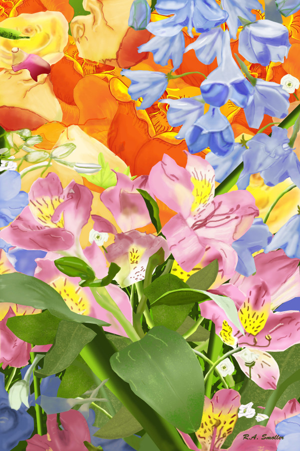 Multi-colored flowers by Rene Smoller