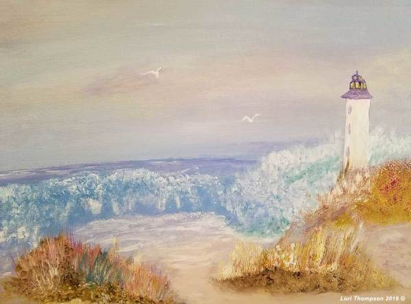 Lighthouse Smashing Waves by Lori Thompson