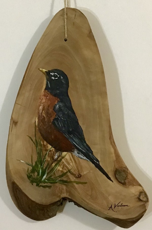Robin on Olive Wood by Alexandra Verboom